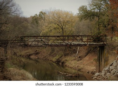 An Old Abandoned One-Lane Bridge Across a Creek in Carter County in South Central Oklahoma