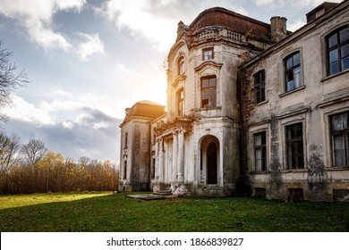 Old abandoned palace, manor in the autumn summer