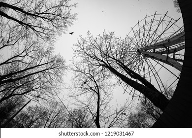 old abandoned Park, empty metal Ferris wheel without cabins in absence of visitors, a day off, repairs and an abandoned creepy place, like Pripyat, disassembled into parts a children's attraction