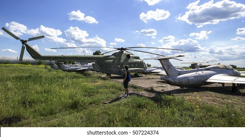 Old abandoned planes and helicopters in Ukraine