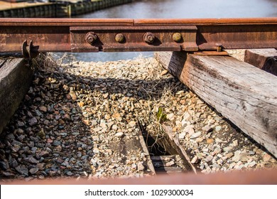 Old Abandoned Railroad tracks close up. Taken in Conway, South Carolina