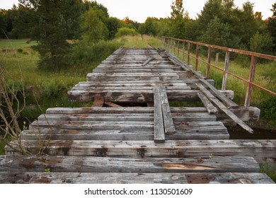 old abandoned railway bridge surrounded by green trees