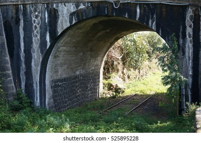 Old abandoned railway overgrown with grass and trees, passing under an arch
