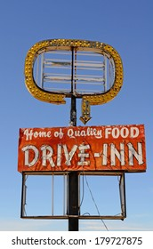 Old abandoned restaurant drive inn cafe along Route 66 in northern Texas