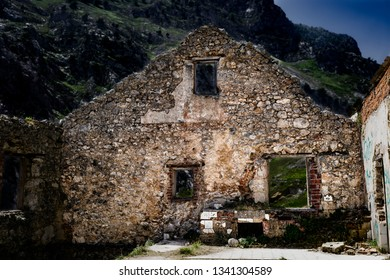 Old abandoned and ruined mountain house