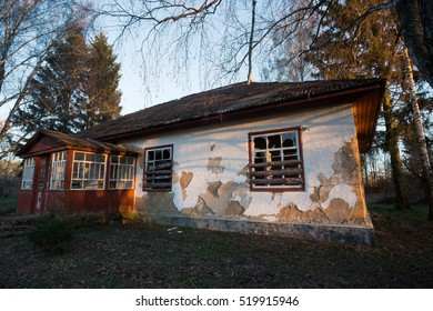 Old abandoned rustic building. This building is an old abandoned rural elementary school in small Ukrainian village. In the village was nearly empty of inhabitants and school have long does not work.