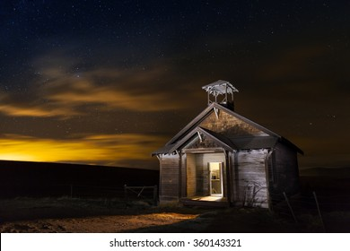 old abandoned school house at night
