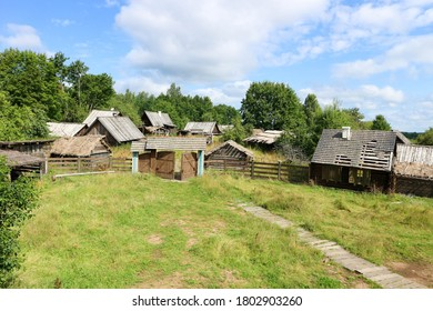 old abandoned village wooden house in the forest