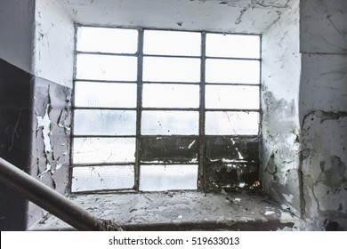 old abandoned window in factory