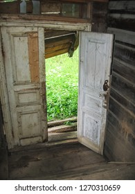An old abandoned wooden house, Interior old