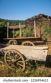 Old abandoned wooden wagons in the rural countryside