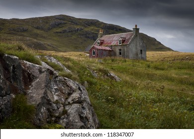 An Old Abandonned cottage on a hillside in Eriskay in the Outer Hebrides