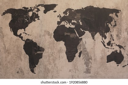 old abstract grunge map of the world on canvas