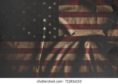 Old abstract Usa flag. Grunge background. Interior poster