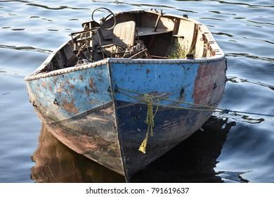 old abundant motor boat