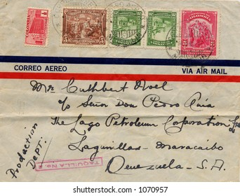 Old addressed envelope sent from Columbia to Venezuela in 1942