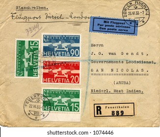 Old addressed envelope from switzerland 1933