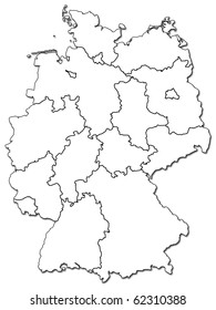 old administration map of german provinces (states) with clipping path