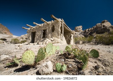 An old adobe hut used by the natives now sits abandoned in the desert, near Terlingua, Texas.