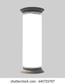 old advertising pillar, isolated, free copy space