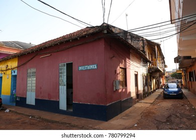 The old aera of the city in bissau the capital of guineo bissau. Colored facades of ancient colonial houses. The picture has been taken on 12nd october 2016.