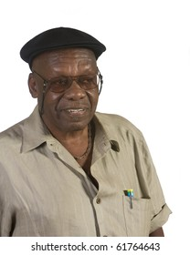 Old African American man portrait. shot against white background.