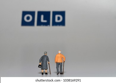 old aged couple in miniature