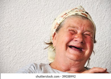 Old aged female person, very delightful and funny face