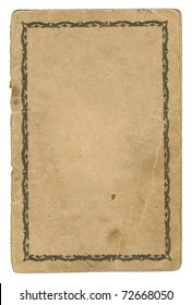 Old aged Paper with stains. Back Cover of an old Passport. Ornamented Frame