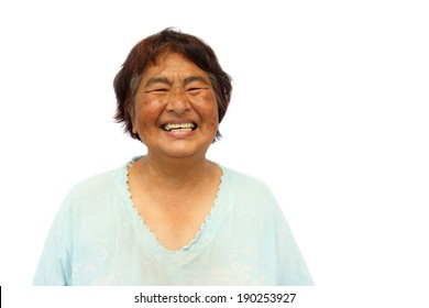 Old aged thai woman is smiling and blank area at right side
