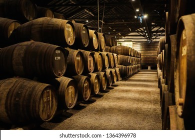 Old aged traditional wooden barrels with wine in a vault lined up in cool and dark cellar in Italy, Porto, Portugal, France