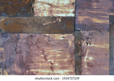 Old aged weathered rusty corroded coat iron sheets texture pattern, multiple horizontal rusted corroding grunge metal patch plates, rustic patched hut shack wall macro closeup, large detailed textured