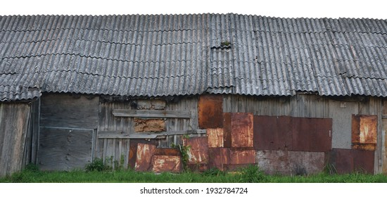 Old aged weathered wooden shack, grey plated wood boarding hut wall, patched planks, rusted metal plates rusty paint texture, isolated panorama, grunge zinced coat iron steel zinc patches slated roof