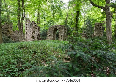 Old ages ruins of a small clearing in the forest.