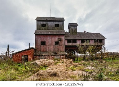 Old agricultural granary. .Abandoned, forlorn collective farm. Russia, Tula region.