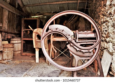 old agricultural machine, Galician ethnographic museum,