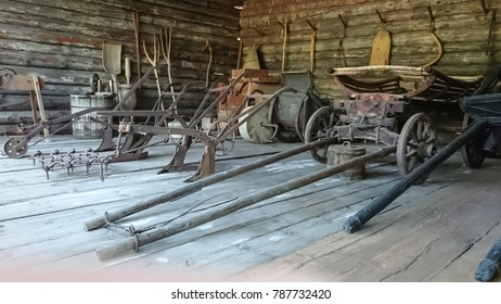 Old agricultural tools. Agrarian vintage tools.
