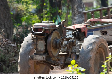 old Agriculture Diesel Engine ,walking tracktor for farmer in Thailand.