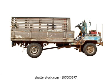 Old agriculture truck isolated on white