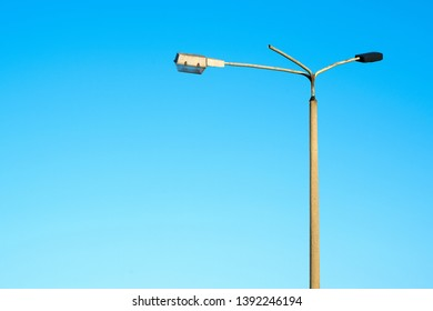 old ailing GDR streetlight in the port of Magdeburg