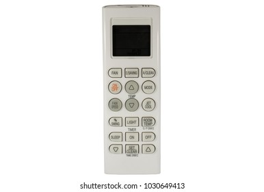 Old air conditioner remote control with multi option button, swing, fan, saving, on/off, clean, light, sleep, jet cool, temp, and fan speed isolated on white background, Clipping path inside.