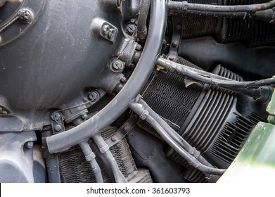 Old aircraft engine,detail close up.