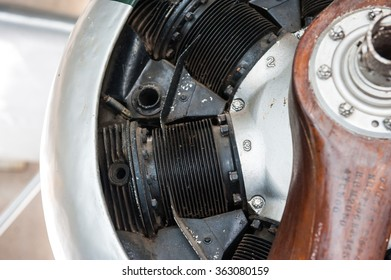 Old aircraft,Engine and propeller close up.