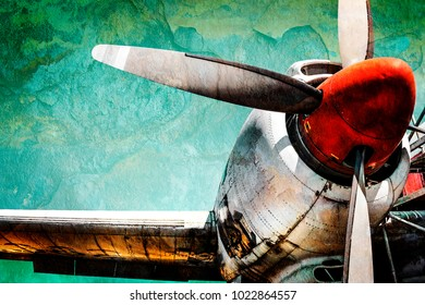 Old airplane turboprop engine with propeller blades, parts of wings and aircraft fuselage - concept closeup  historic vintage plane travel flight dramatic look retro style propeller plane aircraft