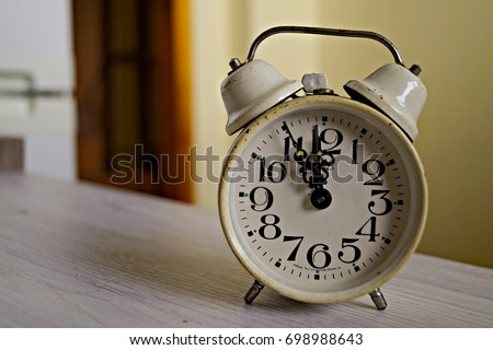 Old Alarm Clock Showing 5 Minutes Stock Photo Edit Now 698988643