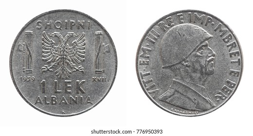Old Albanian 1 Lek coin with Victor Emmanuel III King and Emperor (Vittorio Emanuele III Re e Imperatore in Italian), circa 1939 isolated over white background
