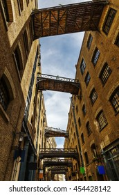 old alley with footbridges in Southwark, London, UK