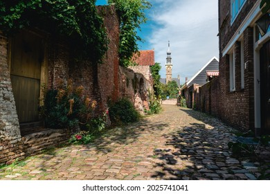 Old alley in Veere in the Netherladns. City Veere in the province of Zeeland in the Netherlands