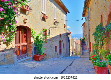 old alley in the village of Castiglione della Pescaia, a famous medieval town overlooking the Tuscan coast in the province of Grosseto, Italy