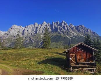 Old alpine hut in Mühlbach am Hochkönig